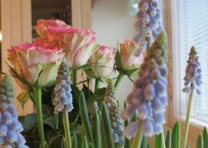 Itselleni ostamat kukat, naistenpäivän ruusut ja helmililjat, tuovat kauneutta tähän keväiseen kasvun ja uudistumisen aikaan.