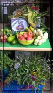 Pöykkölän sadonkorjuumarkkinoilla oli myynnissä paikallisia kasviksia, juureksia ja yrttejä. Kuvassa näkyy jopa lappilaista maissia.