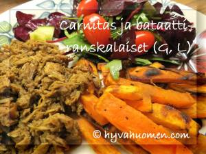 Carnitas eli nyhtöpossua meksikolaisittain, bataattiranskalaiset ja salaattia. Aikaa vievää, mutta kannattavaa.