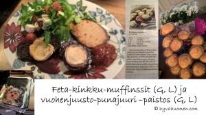 Testissä suolaisten muffinssien sekä vuohenjuusto-punajuuripaistoksen ohjeet. Hyvää tuli!