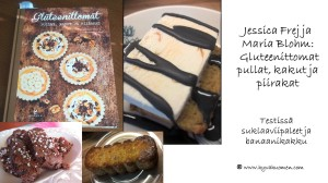 Jessica Frejn ja Maria Blohmin leivontakirja sisältää monia hyviä gluteenittomia ohjeita. Testissä olleet suklaaviipaleiden ja banaanikakun reseptit toimivat hyvin ja lopputulos oli herkullinen.