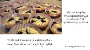 Ulrika Hofferin ohjeella syntyvät muffinssit ilman sokeria, gluteenia ja maitoa. Rauhaa ja rakkautta -muffinssien versio tällä kertaa mustikkaisena!