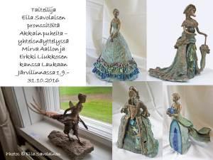 Osa Akkain puhetta -näyttelyssä olevista Eila Savolaisen teoksista.