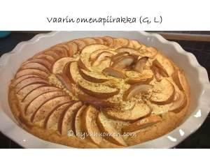 Herkullinen omenapiirakka syntyy vähällä vaivalla, etenkin kun perheen pienimmäinen huolehti taiteellisesta vaikutelmasta. Tosiaan: miksi viipaleet pitäisi aina asetella vaakasuoraan eli horisontaalisesti?